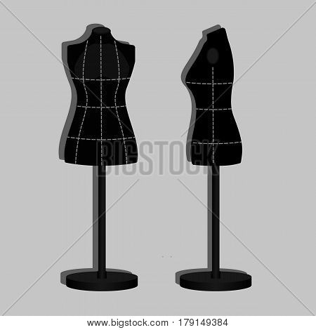 Black tailor's dummy with marks. Vector illustration