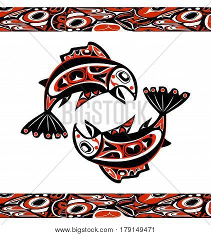 native salmon Vector fish in red on white background with native ornaments