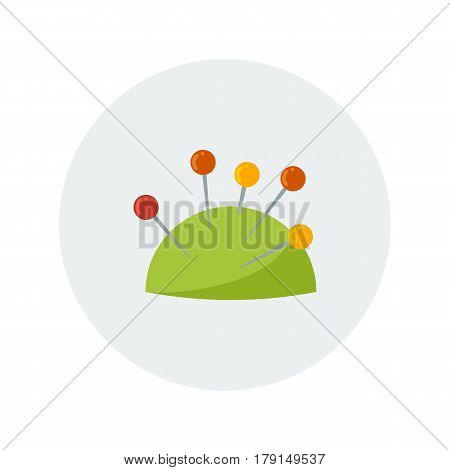 Colorful pincushion with pins . Vector illustration.