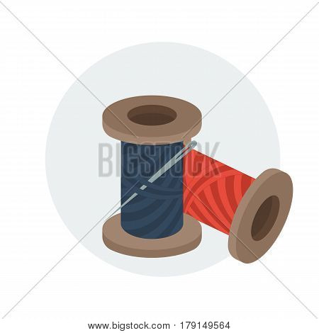 Spools of sewing thread with needle. Vector illustration