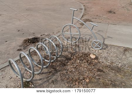steel bicycle parking system empty and unattended
