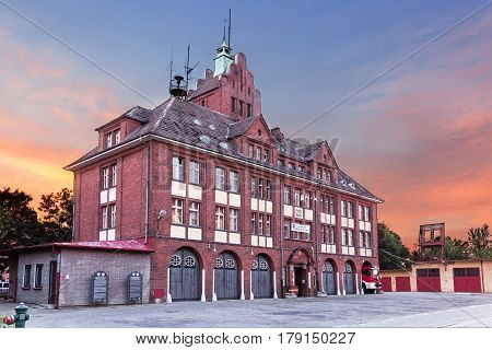 Sights Of Poland. Old Building Of Fire Brigade In Koszalin.