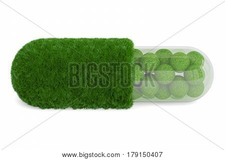 Grass pill capsule 3D rendering isolated on white background