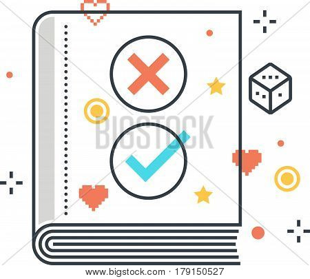 Color Line, Game Rules Concept Illustration, Icon