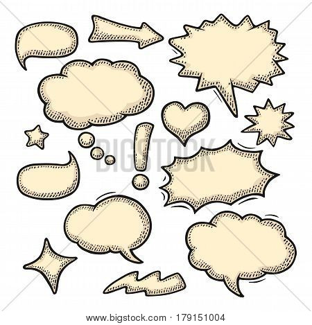 Set speech and thought bubbles. Isolated on white background. Vintage black and beige vector engraving illustration for poster, info graphic, web.