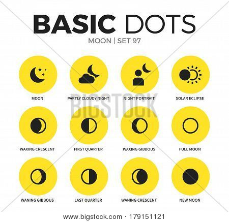 Moon flat icons set with full moon, new moon and last quarter isolated vector illustration on white