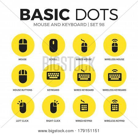 Mouse and keyboard flat icons set with mouse, scroll and left click isolated vector illustration on white
