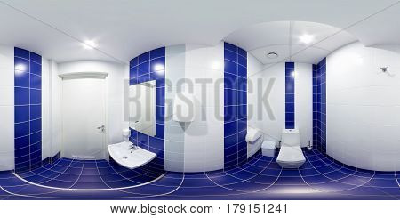 Panoramic photograph inside the toilet with a toilet bowl blue rooms with a sink and blue tiles.