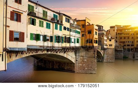 Bridge Vecchio on the river Arno in Florence, Italy