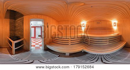 Panorama 360 degrees of sauna in the bath complex of the sports club.Wood beds from wooden boards inside the sauna 360 degree view.