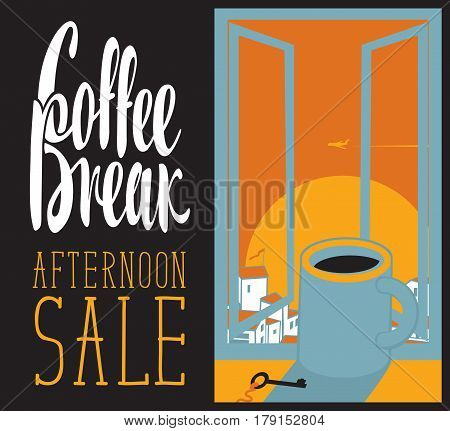 vector banner cup of coffee on the window sill with afternoon cityscape and inscription coffee break