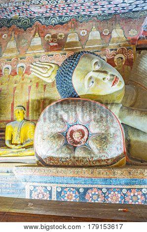 The Head Of Reclining Buddha In Dambulla Cave