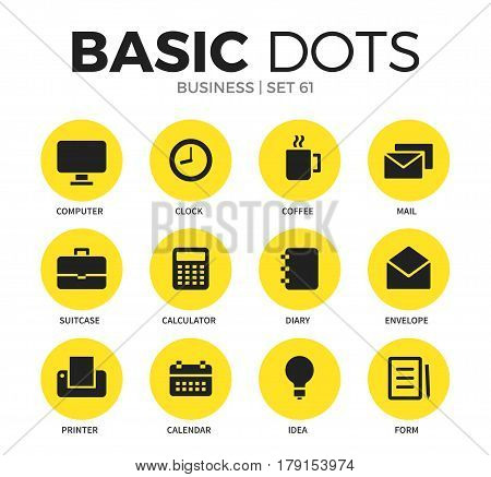 Business flat icons set with computer form, clock icon and printer form isolated vector illustration on white