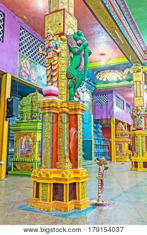 The Colorful Interior Of Matale Hindu Temple