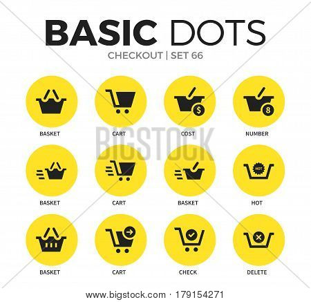 Checkout flat icons set with basket form, cart icon and cost form isolated vector illustration on white