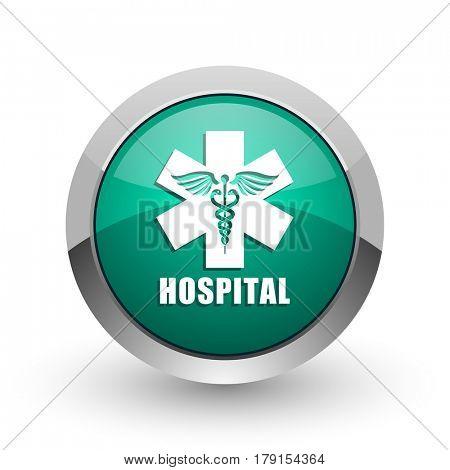 Hospital silver metallic chrome web design green round internet icon with shadow on white background.
