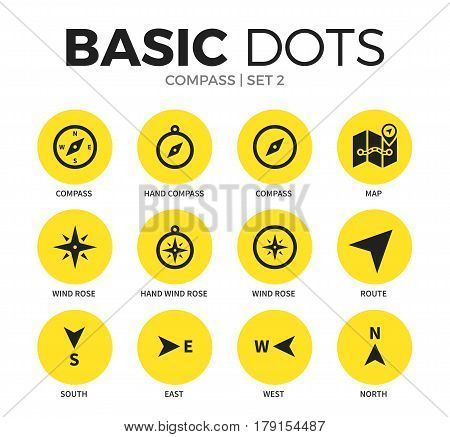 Compass flat icons set with hand compass form, map element and route isolated vector illustration on white