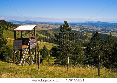 Watchtower at landscape of Divcibare mountain in west Serbia