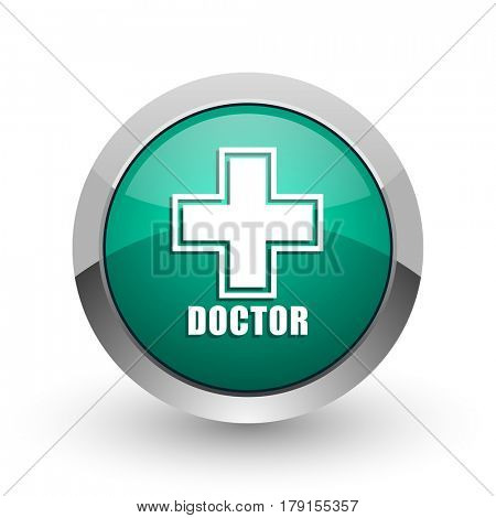 Doctor silver metallic chrome web design green round internet icon with shadow on white background.