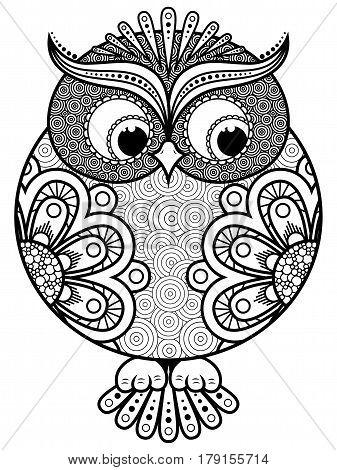 Big Stylized Ornate Rounded Owl
