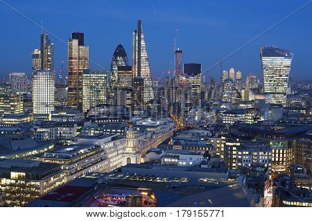 Financial district of London at night, England