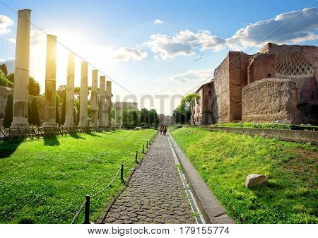 Road to Roman Forum from Colosseum in Rome, Italy