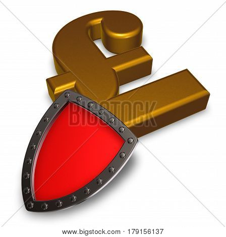 pound sterling symbol and metal shield - 3d illustration