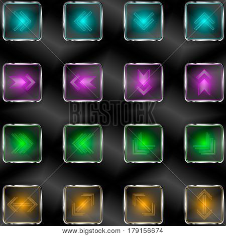 The vector set.Squares with neon lights and arrow symbols