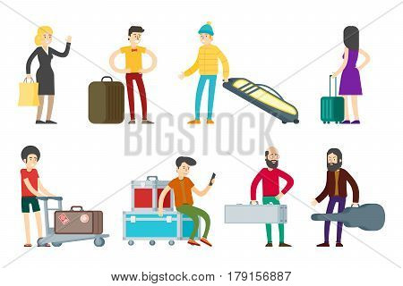 Flat people characters collection with passengers going on vacation with different kinds of baggage isolated vector illustration