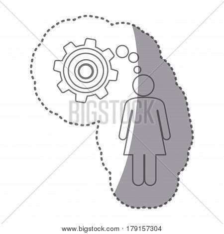 sticker silhouette of woman thought in a pinion vector illustration