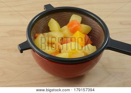 Canned tropical fruit mix of pineapple and papaya draining in strainer