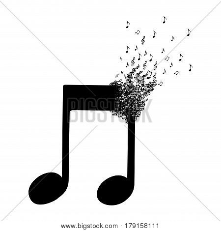 monochrome background with musical note with top fading vector illustration