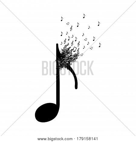 monochrome background with quaver note with top fading vector illustration