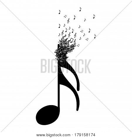 monochrome background with semiquaver note with top fading vector illustration