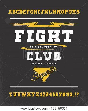 FIGHT CLUB. Hand crafted retro vintage typeface design. Original handmade lettering type alphabet. Authentic handwritten graphic font, vector letters.  Illustration fashion badge label logo template.
