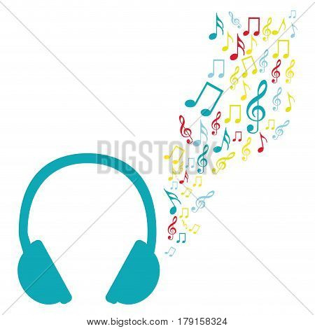 color silhouette of headphones with music sound vector illustration