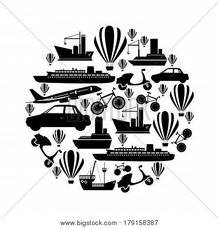 monochrome circular pattern formed by means transport vector illustration