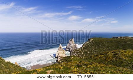 Aerial View of the Ursa Beach (Praia da Ursa) near de Roca Cape (Cabo da Roca) in Sintra Portugal