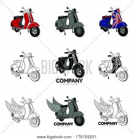 Vector Illustration Of Vintage Scooter