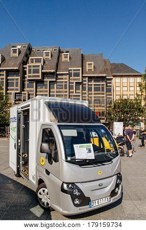 STRASBOURG FRANCE - JUN 24 2016: Groupe Univers VE electric vehicle COLIBUS for postal distribution of parcels and letter in France by national postal carrier LA POSTE