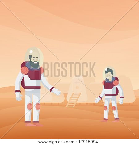 Flat Mars exploration template with astronauts in spacesuits on orange desert landscape vector illustration