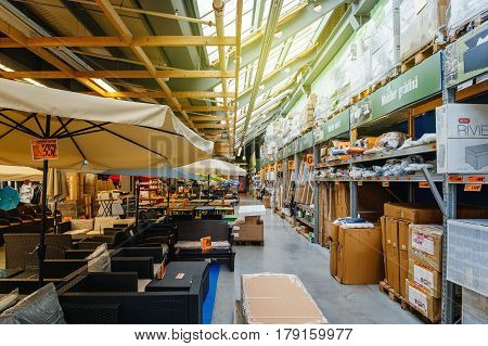 BUCHAREST ROMANIA - APR 1 2016: Bic shelf of DIY store retail point selling ready-to-assemble garden and outdoor furniture with 20% discount