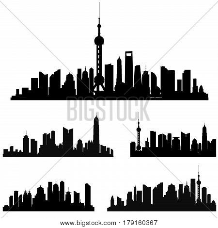 City view signs with tower and skyscraper. Shanghai skyline set. Buildings silhouette collection.