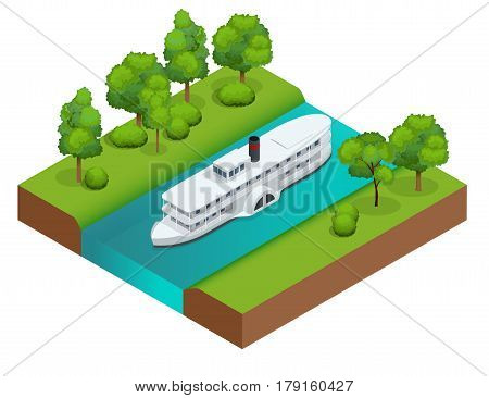 Isometric Old paddle steamer ship on the river. Water transport. Riding on the river. Flat 3d illustration. For infographics and design.