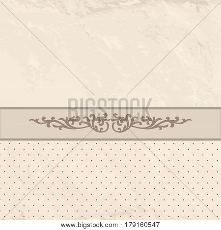Floral border on vintage background. Old paper with patern in retro victorian style. Retro card border with place for text. Perfect for greetings invitations or announcements.