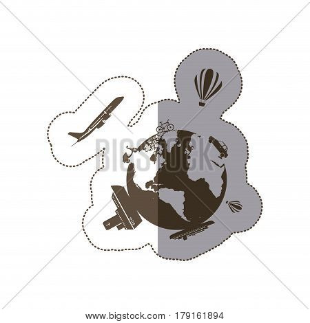 monochrome silhouette sticker of world with means of transport around vector illustration