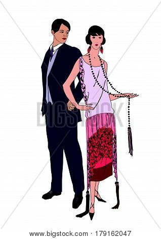 Couple on party. Man and woman in cocktail dress in vintage style 1920's. Portrait of an attractive flapper girl with her boyfriend. Retro fashion illustration isolated on white background.