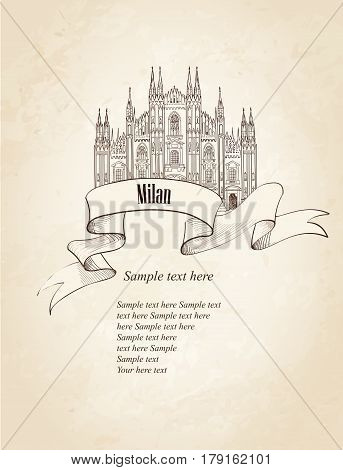 Milan citiy symbol Dome Cathedral. Italian landmark label over old paper background with copy space. Travel Italy set.