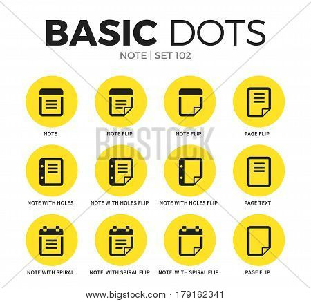 Note flat icons set with note flip, page flip and note with holes isolated vector illustration on white