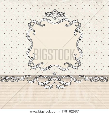 Floral vintage poster design with frame and copy space. Patern in retro victorian style. Picture frame or card with place for text. Perfect for greetings invitations or announcements.